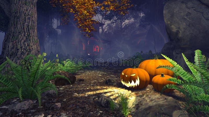 Potirons de Halloween dans une forêt brumeuse de nuit illustration de vecteur