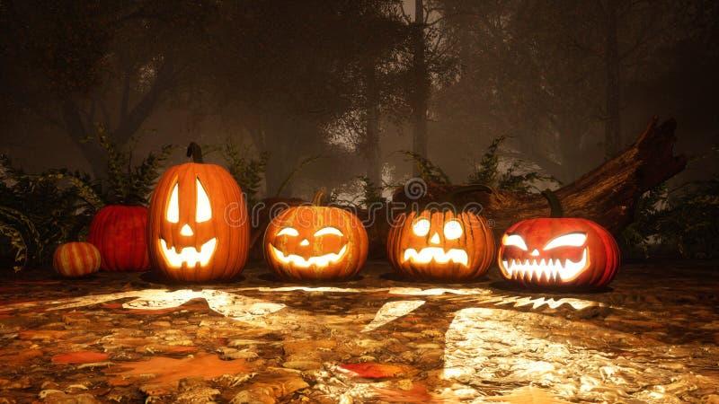 potirons de Halloween de Jack-o-lanterne dans la forêt brumeuse image libre de droits