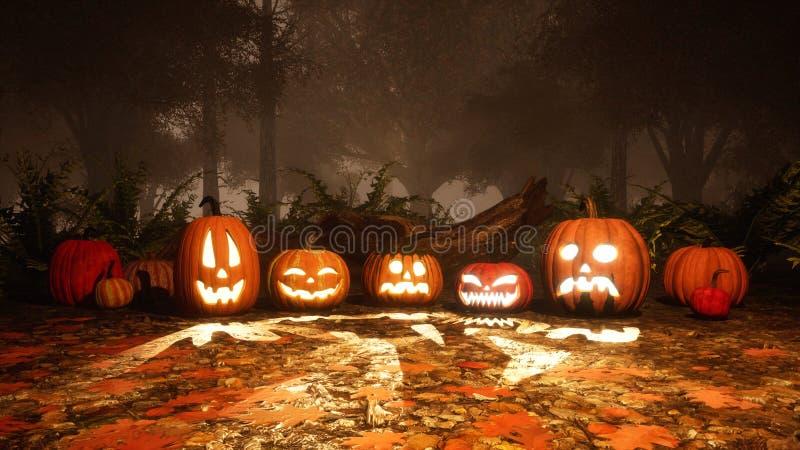 potirons de Jack-o-lanterne dans la forêt d'automne au crépuscule photo stock