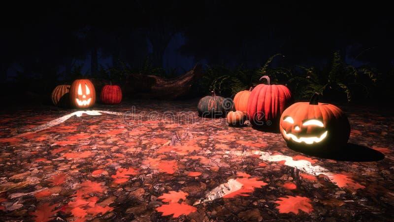 potirons de Jack-o-lanterne dans la forêt d'automne la nuit images libres de droits