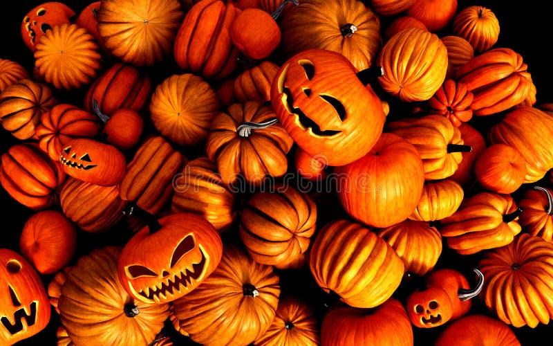 Potirons effrayants de Halloween de lanterne de Jack O illustration de vecteur