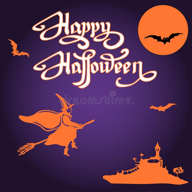 Potirons et battes de Halloween sur la pleine lune illustration libre de droits