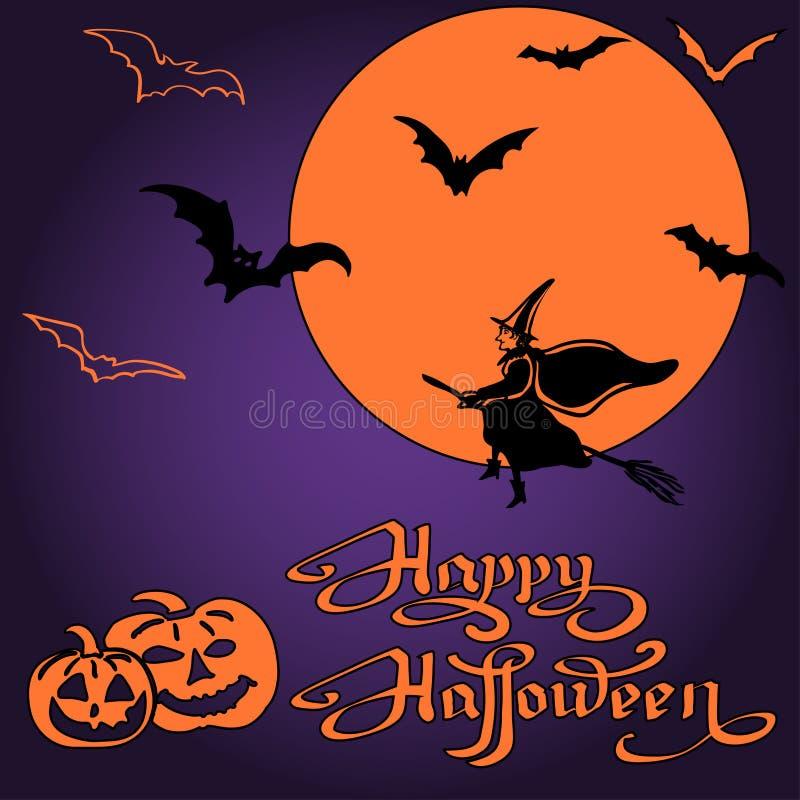 Potirons et battes de Halloween sur la pleine lune illustration de vecteur
