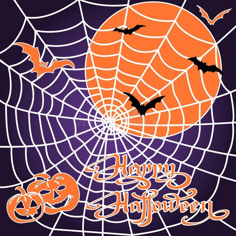 Potirons et battes de Halloween sur le fond de toile d'araignée illustration stock