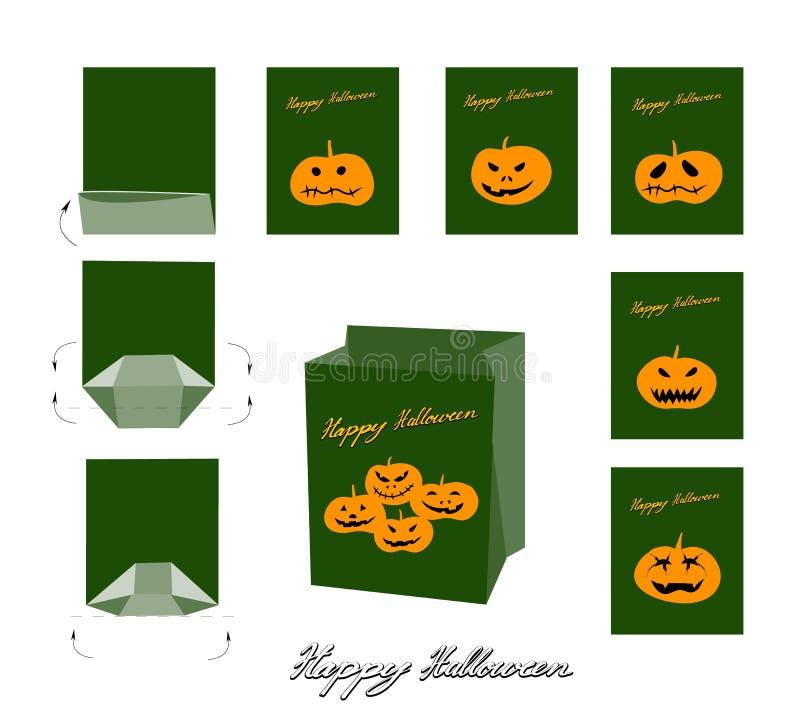 Potirons et maux de Jack-o-lanterne pour le sac de Halloween illustration libre de droits