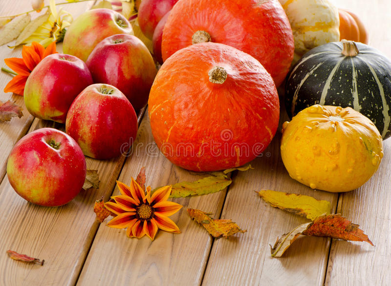 Potirons oranges avec les pommes et les feuilles rouges de chute photographie stock libre de droits