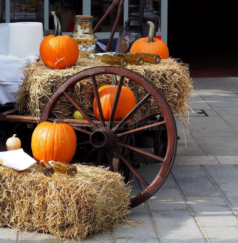 Potirons oranges et bouteilles de vin blanc sur des balles de foin avec une vieille roue en bois photographie stock