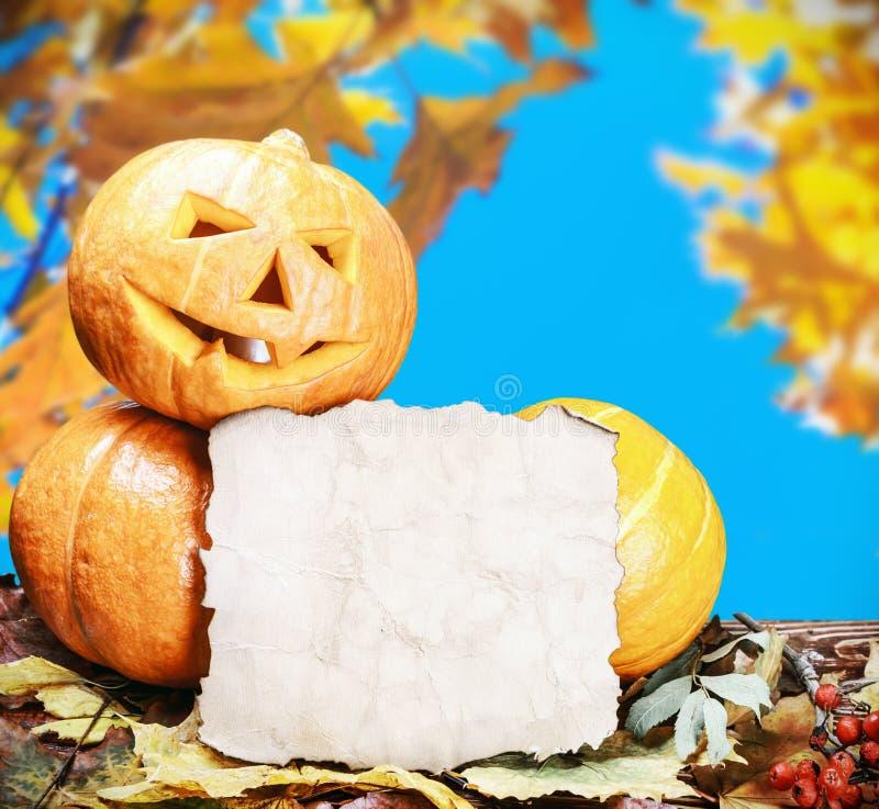 Potirons pour Halloween et feuille de papier photo stock