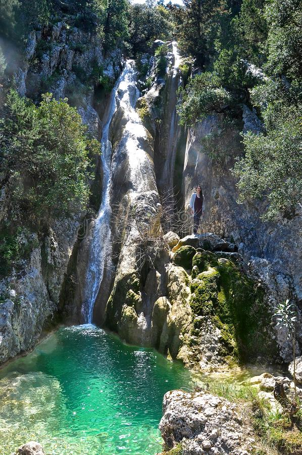 The Potistis waterfall in south Kefalonia island, Ionian islands, Greece. The Potistis waterfall is uniquely situated in the wild mountain land of the Gradou stock photo