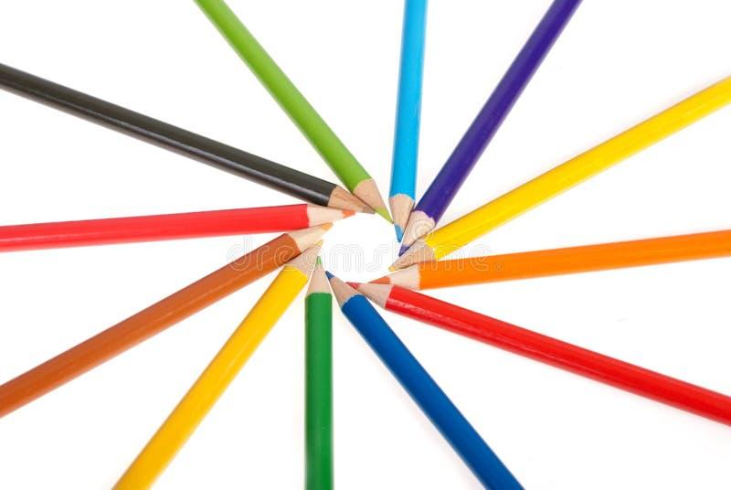 Potloden die in cirkel worden bevolen stock foto's