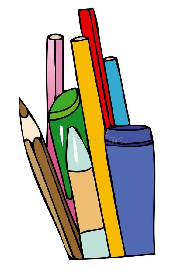 Potloden en pennen voor school stock illustratie