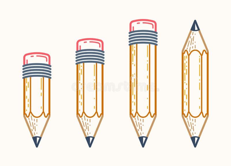 Potloden geplaatst vector eenvoudige in emblemen of pictogrammen voor ontwerper of studio, creatief ontwerp, onderwijs, wetenscha royalty-vrije illustratie