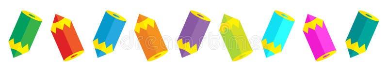 Potloden in horizontale lijn stock illustratie