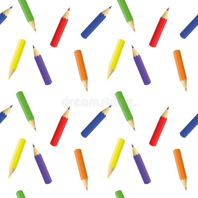 Potloden van verschillende kleur - een naadloos patroon stock illustratie