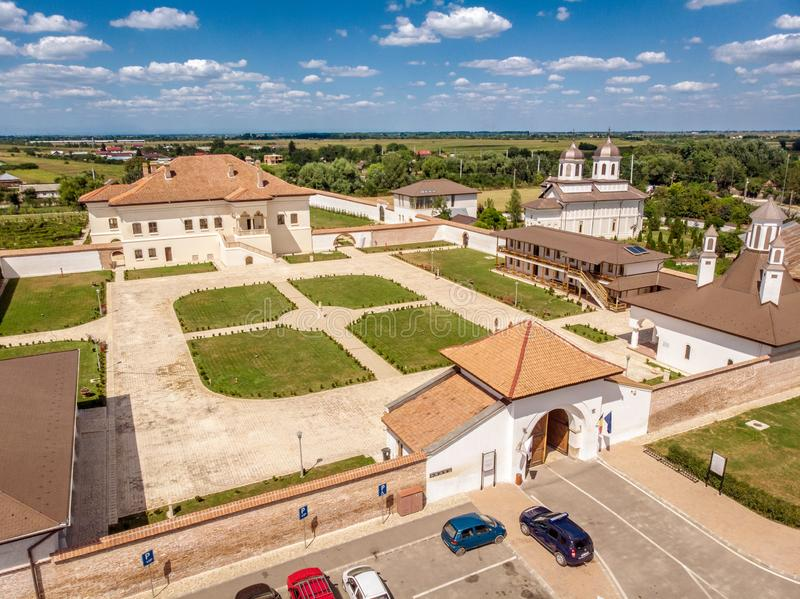 Potlogi, Romania - August 2018: aerial view Constantin Brancove. Anu Palace at Potlogi Dambovita Romania, now a museum stock photo