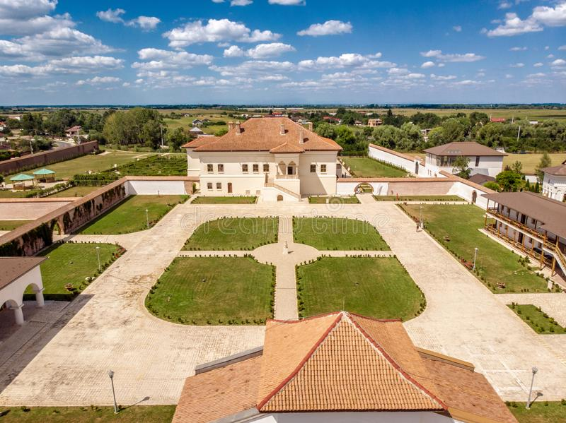Potlogi, Romania - August 2018: aerial view of the restored bra. Potlogi, Romania - September 2018: aerial view of the restored brancovenesc style palace build stock photography