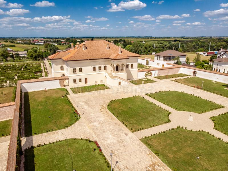 Potlogi, Romania - August 2018: aerial view of the restored bra. Ncovenesc style palace build by voivode Constantin Brancoveanu at Potlogi Dambovita Romania royalty free stock images