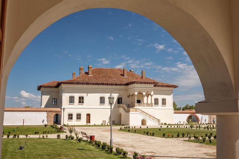 Potlogi, Romania - August 2018: The restored brancovenesc style. Palace build by voivode Constantin Brancoveanu at Potlogi Dambovita Romania stock photos