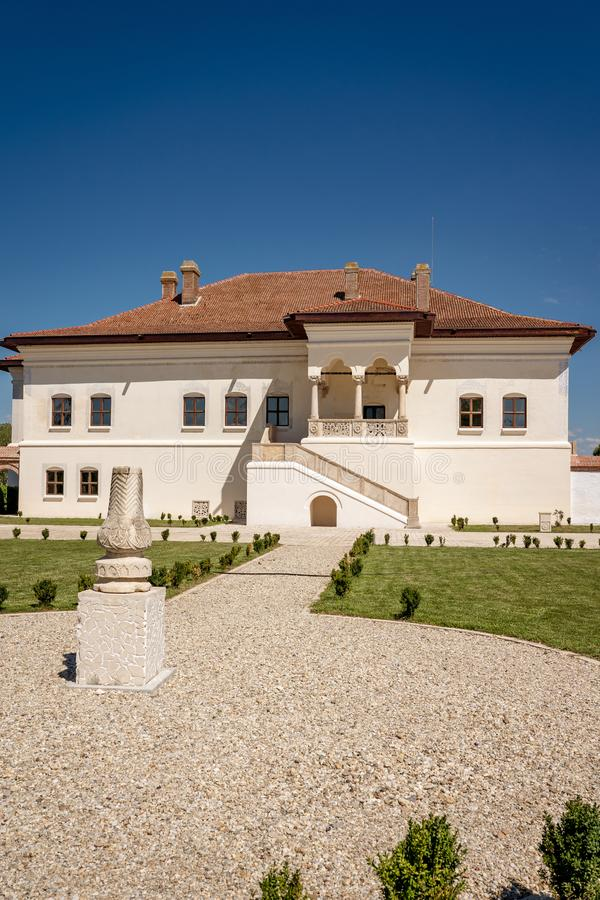 Potlogi, Romania - August 2018: The restored brancovenesc style. Palace build by voivode Constantin Brancoveanu at Potlogi Dambovita Romania stock photography