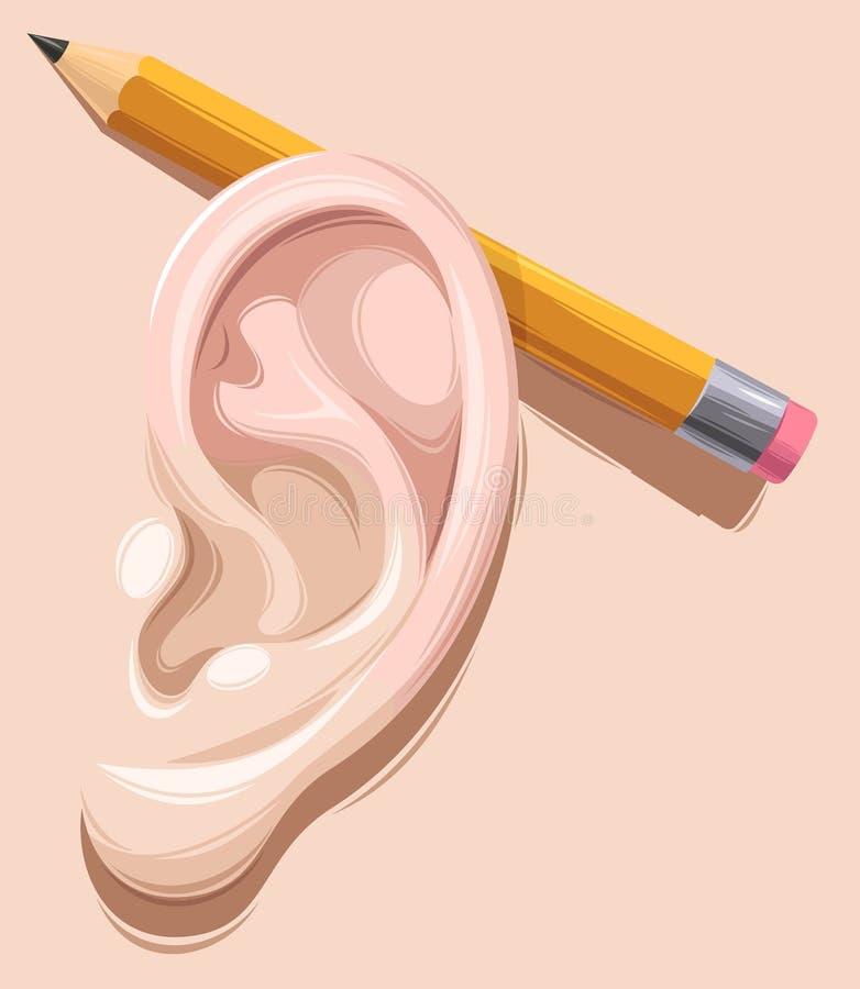 Potlood achter oor royalty-vrije illustratie