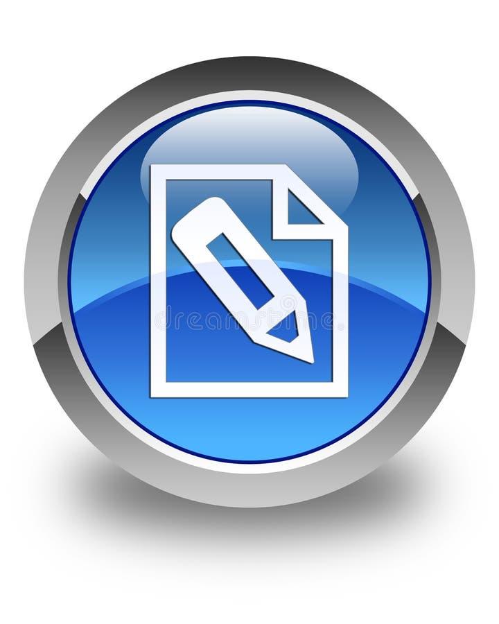 Potlood in de glanzende blauwe ronde knoop van het paginapictogram royalty-vrije illustratie