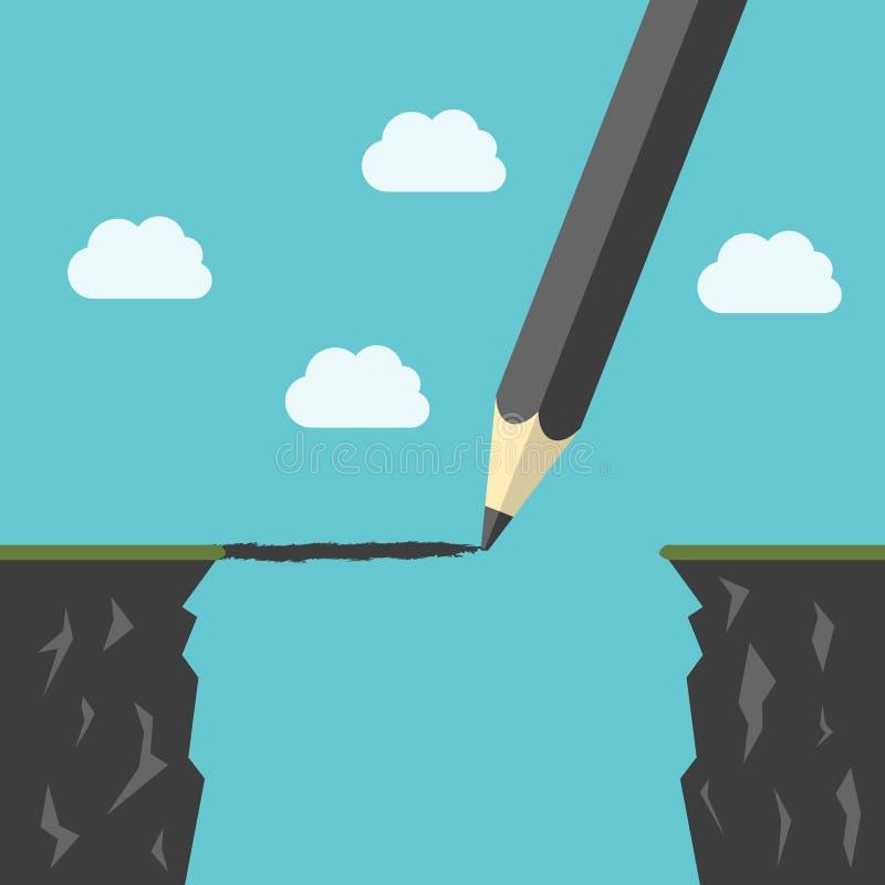 Potlood die een brug trekken stock illustratie