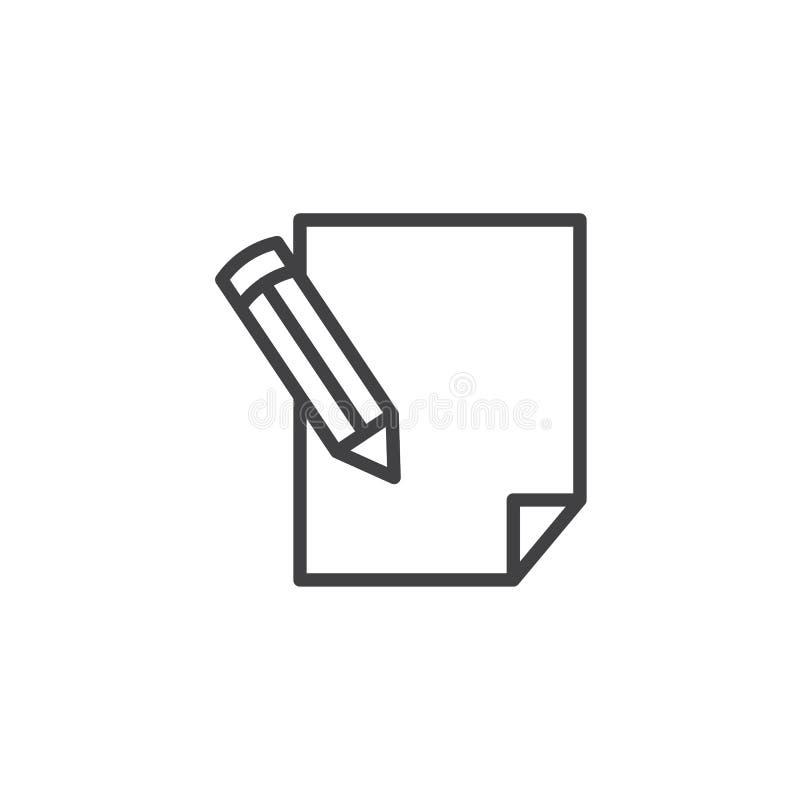 Potlood die op document het pictogram van de bladlijn schrijven stock illustratie