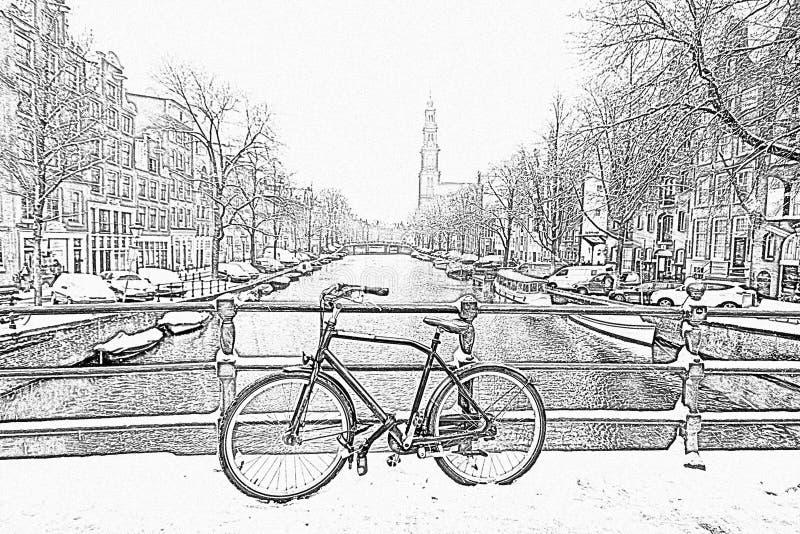 Potlood die die van Amsterdam trekken met sneeuw met Westerk wordt behandeld stock foto