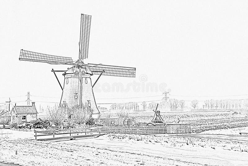 Potlood die van een historische windmolen in Nederland trekken royalty-vrije stock afbeeldingen