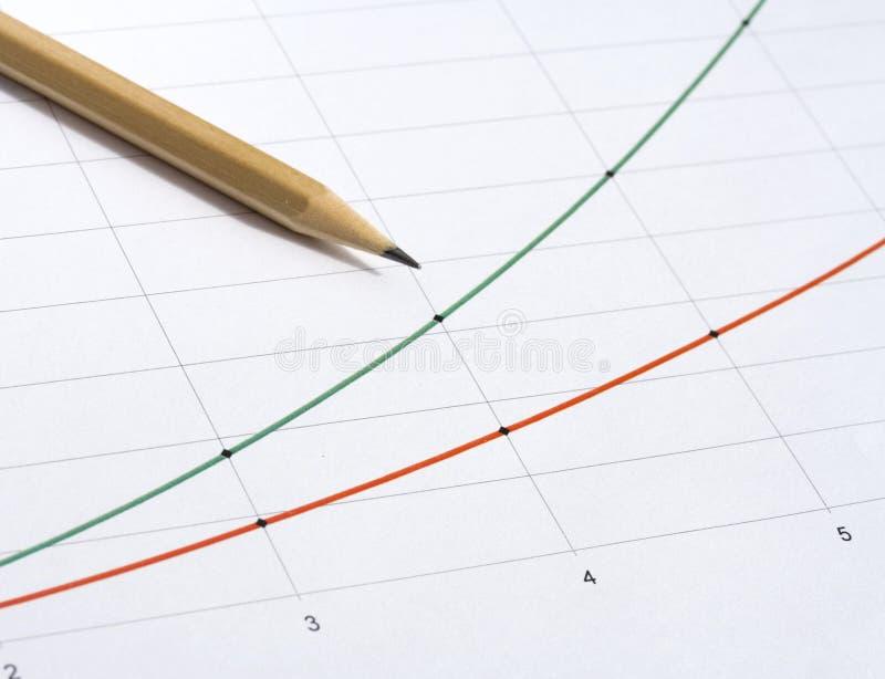 Potlood en grafiek royalty-vrije stock foto