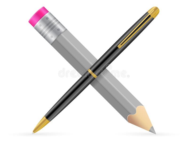 Potlood en pen stock illustratie