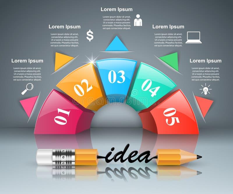 Potlood, idee, onderwijspictogram Zaken Infographic royalty-vrije illustratie