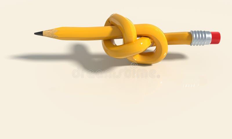 Potlood, knoop en probleem stock illustratie