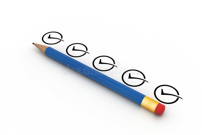 Potlood met controlelijst stock illustratie