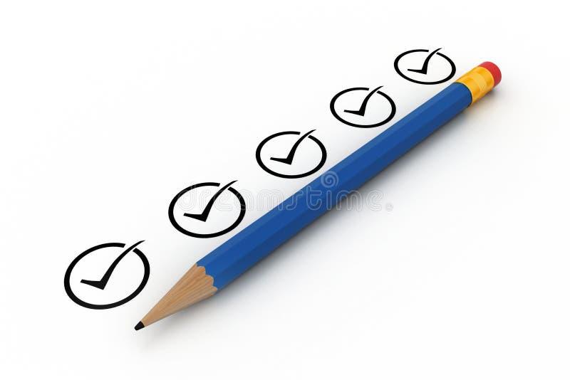 Potlood met controlelijst vector illustratie