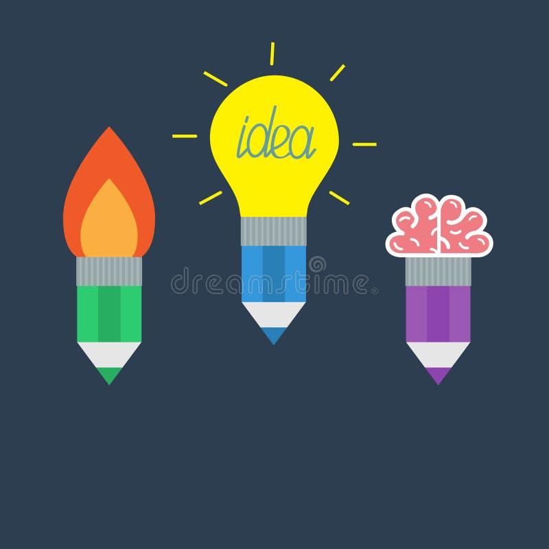 Potlood met gele gloeilampenlamp, raketbrand en hersenen Bedrijfsideeconcept dat wordt geplaatst Vlak Ontwerp stock illustratie