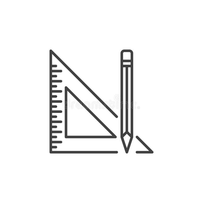 Potlood met pictogram van het het overzichtsconcept van de Driehoeksheerser het vector royalty-vrije illustratie