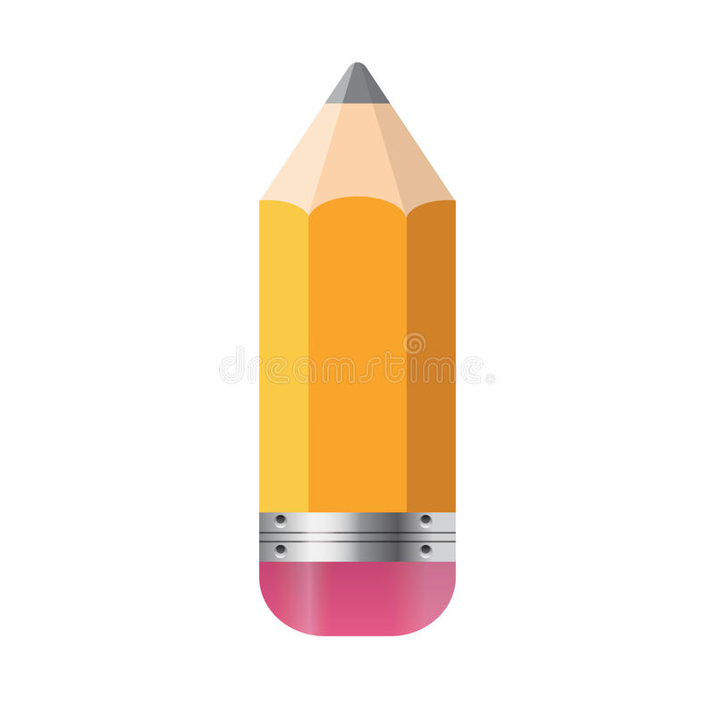 Potlood op Witte Vector wordt geïsoleerd die Als achtergrond stock illustratie