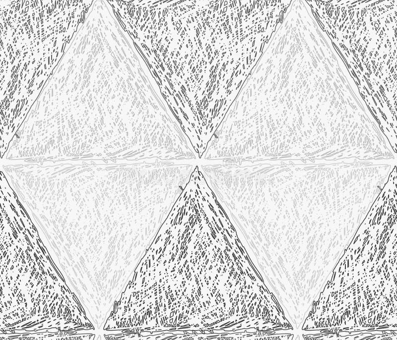 Potlood uitgebroede lichte en donkergrijze driehoeken in rij die diameter vormen stock illustratie