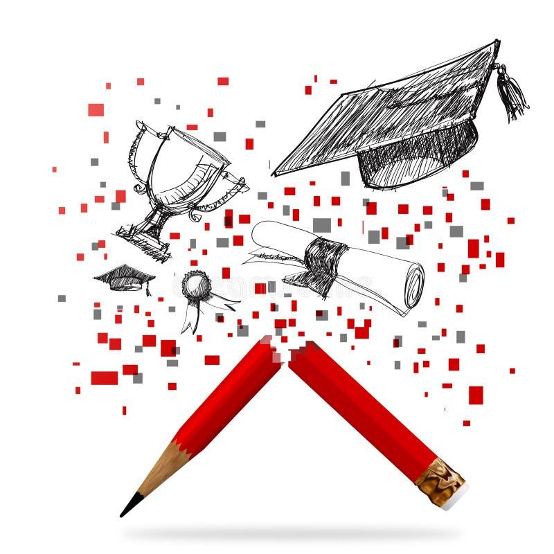 Potlood van graduatieviering royalty-vrije illustratie