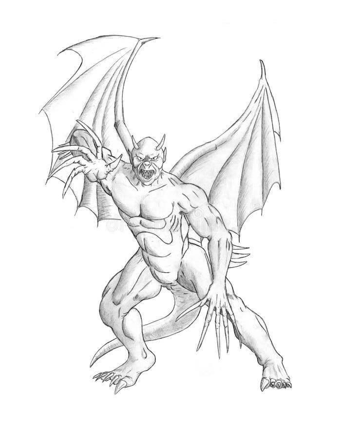 Potloodconcept Art Drawing Fantasie Gevleugeld Demon of Duivelsmonster stock illustratie