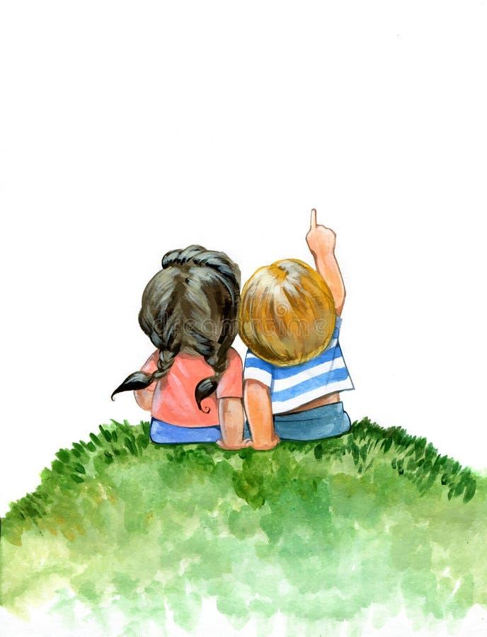 Potloodillustratie van een jongen en een meisje royalty-vrije illustratie