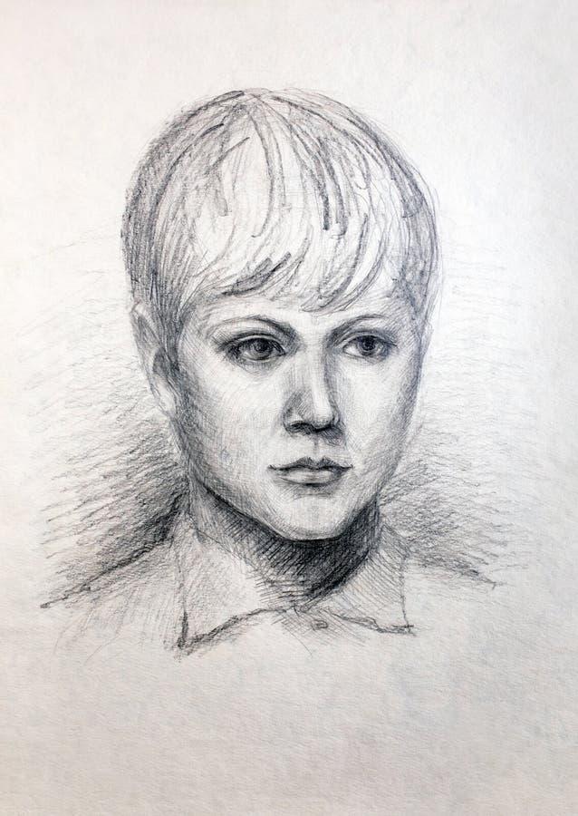 Potloodportret van een meisje stock fotografie
