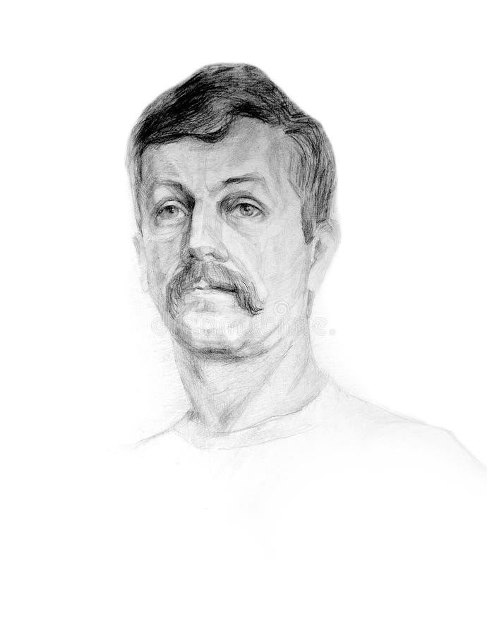 Potloodportret van een mens stock afbeelding