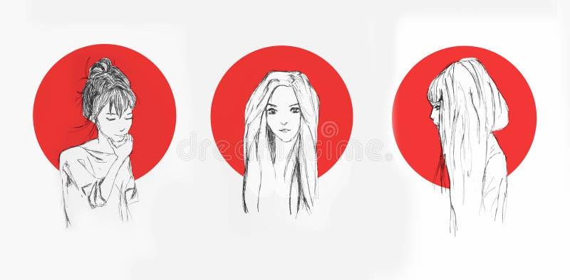 Potloodschets van een Anime-Meisjes met Rode Cirkel achter hen op de Achtergrond stock illustratie