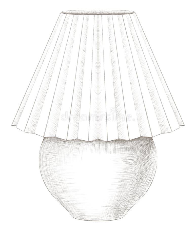 Potloodtekening met schemerlamp met lampekap vector illustratie