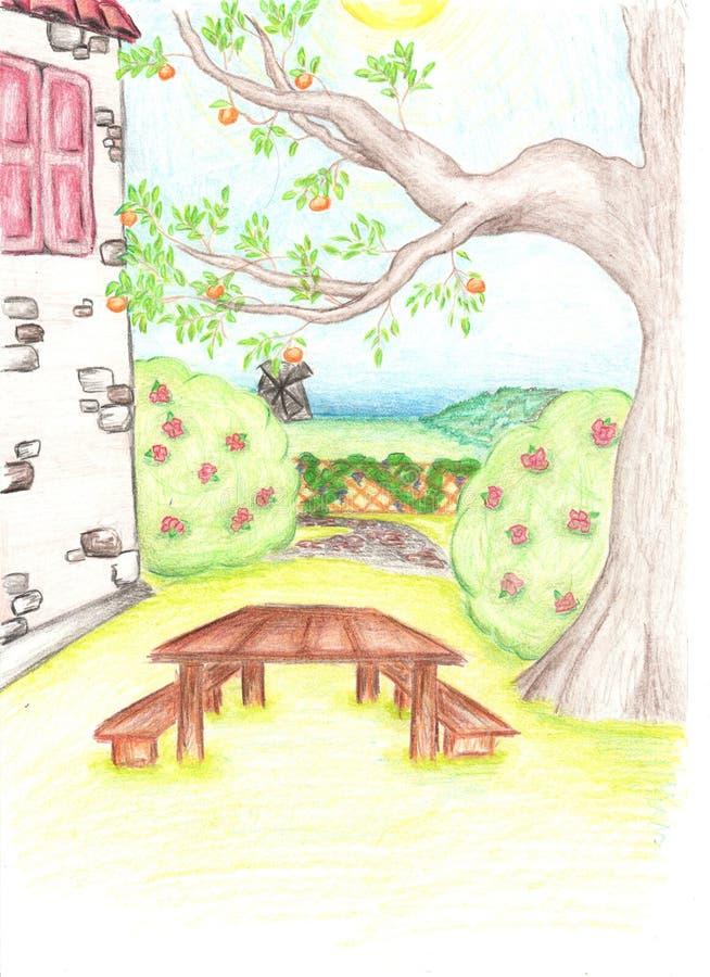 Potloodtekening van boom en huis met de kleine tuin stock fotografie