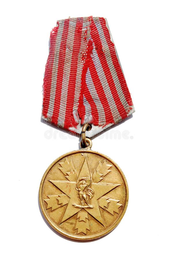 Second World War Yugoslavia medal. Potography of Second World War Yugoslavia Medal for Merits for the People royalty free stock image