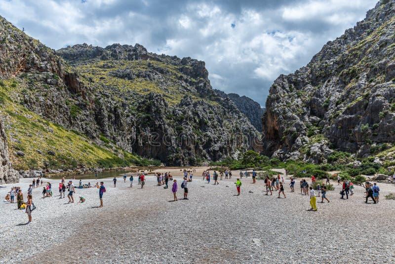Potok De Pareis, Jar De Los angeles Calobra w wyspie Mallorca fotografia royalty free