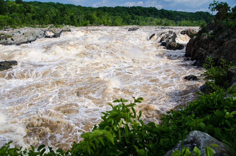 The Potomac River in flood at Great Falls, Maryland stock photos